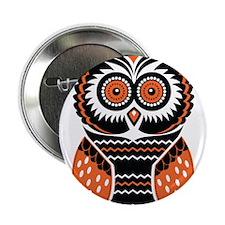 "Orange and Black Owl 2.25"" Button"
