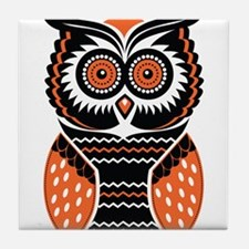 Orange and Black Owl Tile Coaster