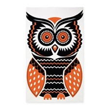 Orange and Black Owl 3'x5' Area Rug