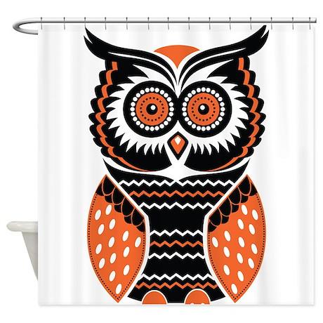 Orange And Black Owl Shower Curtain By WorldofAnimals