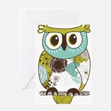 Teal Green Owl Greeting Cards