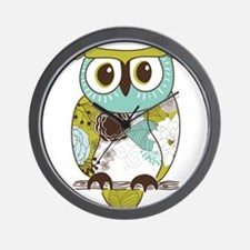 Teal Green Owl Wall Clock
