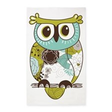 Teal Green Owl 3'x5' Area Rug
