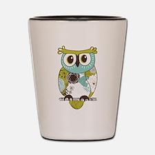 Teal Green Owl Shot Glass