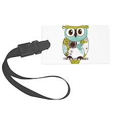 Teal Green Owl Luggage Tag