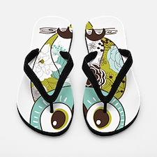 Teal Green Owl Flip Flops