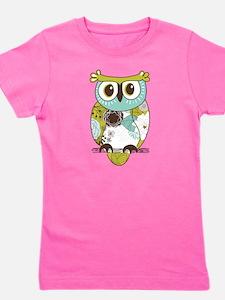 Teal Green Owl Girl's Tee