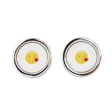 Kiss Wink Face Emoticon Cufflinks