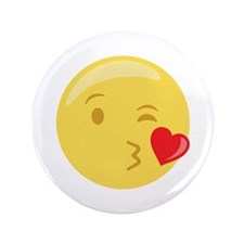 "Kiss Wink Face Emoticon 3.5"" Button (100 pack)"