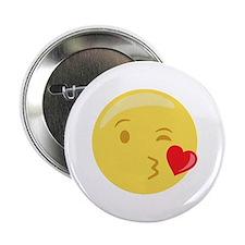 "Kiss Wink Face Emoticon 2.25"" Button"