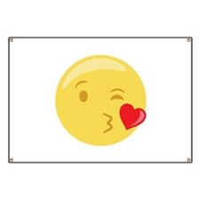 Kiss Wink Face Emoticon Banner