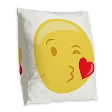 Kiss Wink Face Emoticon Burlap Throw Pillow