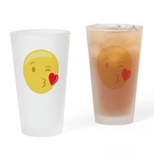 Kiss Wink Face Emoticon Drinking Glass
