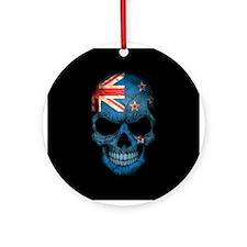 New Zealand Flag Skull on Black Ornament (Round)