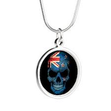 New Zealand Flag Skull on Black Necklaces