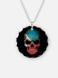 Filipino Flag Skull on Black Necklace