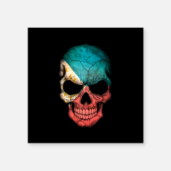 Filipino Flag Skull on Black Sticker
