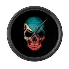 Filipino Flag Skull on Black Large Wall Clock