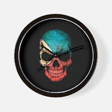 Filipino Flag Skull on Black Wall Clock
