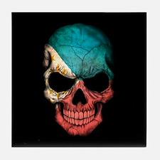 Filipino Flag Skull on Black Tile Coaster