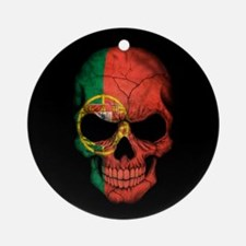 Portuguese Flag Skull on Black Ornament (Round)