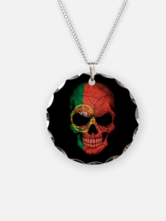 Portuguese Flag Skull on Black Necklace