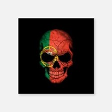Portuguese Flag Skull on Black Sticker
