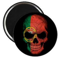 Portuguese Flag Skull on Black Magnets