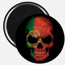Portuguese Flag Skull on Black Magnets