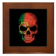 Portuguese Flag Skull on Black Framed Tile