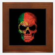 Portuguese Flag Skull on Black Framed Tile