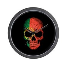 Portuguese Flag Skull on Black Wall Clock