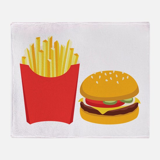 Fast Food French Fries Burger Throw Blanket