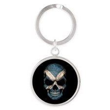 Scottish Flag Skull on Black Keychains