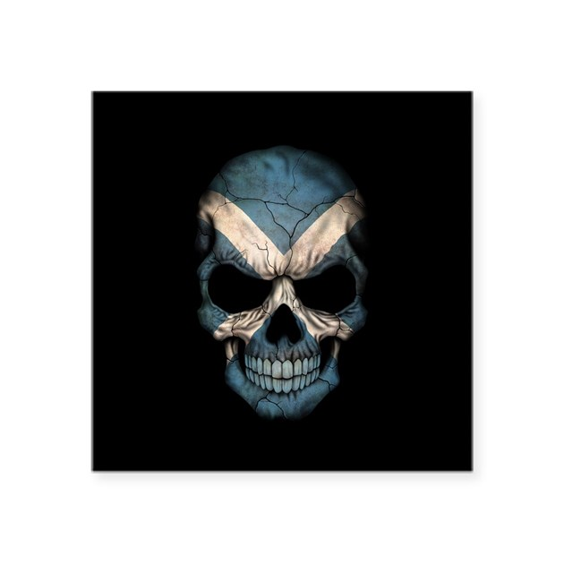 Scottish Flag Skull On Black Sticker By Uniqueflagdesigns