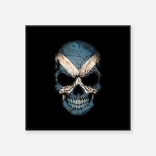 Scottish Flag Skull on Black Sticker