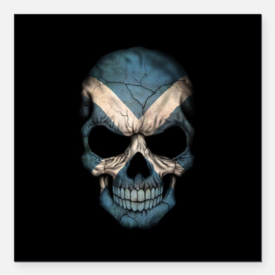 Scottish Flag Skull on Black Square Car Magnet 3""