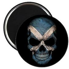 Scottish Flag Skull on Black Magnets