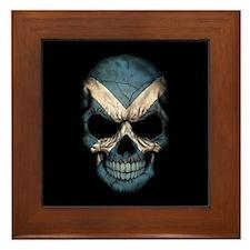 Scottish Flag Skull on Black Framed Tile