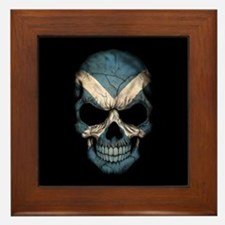 Scottish Flag Skull on Black Framed Tile