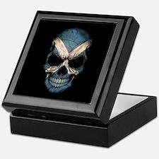 Scottish Flag Skull on Black Keepsake Box