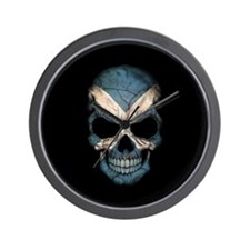 Scottish Flag Skull on Black Wall Clock