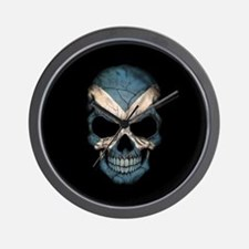 Scottish Flag Skull on Black Wall Clock