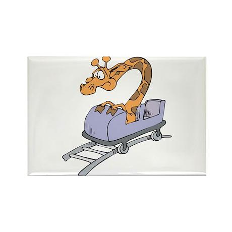 Funny Giraffe on Roller Coaster Rectangle Magnet (