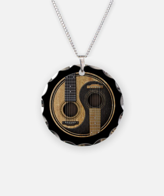 Old and Worn Acoustic Guitars Yin Yang Necklace
