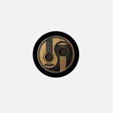 Old and Worn Acoustic Guitars Yin Yang Mini Button