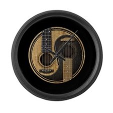 Old and Worn Acoustic Guitars Yin Yang Large Wall