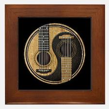 Old and Worn Acoustic Guitars Yin Yang Framed Tile