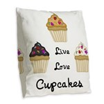 Live Love Cupcakes Burlap Throw Pillow