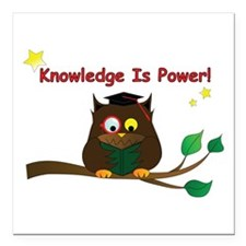 """Wise Owl Square Car Magnet 3"""" x 3"""""""